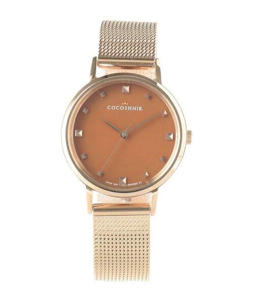 COCOSHNIK / ココシュニック 腕時計 | RGラウンドメッシュベルト ウォッチ(ブラウン)(ホワイト(100))