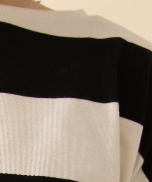 coen / コーエン カットソー | 【新色:ベージュ/ネイビー登場・大人気・復刻】ワイドボーダーボートネックカットソー(ブラック、ライトブルー⇒WEB限定カラー | 詳細5