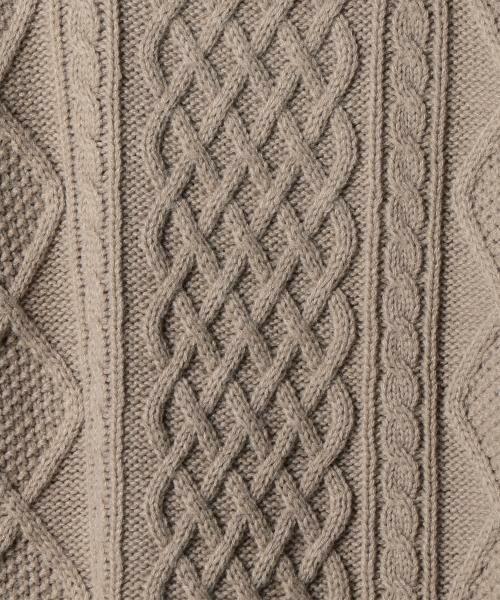 coen / コーエン ニット・セーター | オーバーサイズケーブルニット(キャメル / ワイン / オリーブ ⇒ WEB限定カラー) | 詳細4