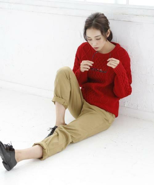 coen / コーエン ニット・セーター | オーバーサイズケーブルニット(キャメル / ワイン / オリーブ ⇒ WEB限定カラー)(RED)