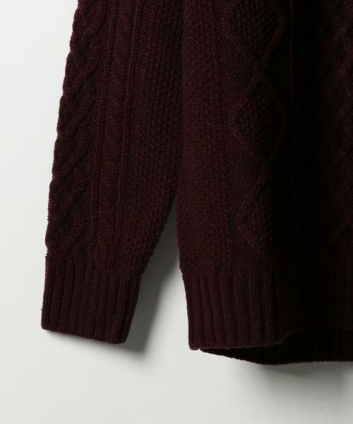 coen / コーエン ニット・セーター | オーバーサイズケーブルニット(キャメル / ワイン / オリーブ ⇒ WEB限定カラー) | 詳細9