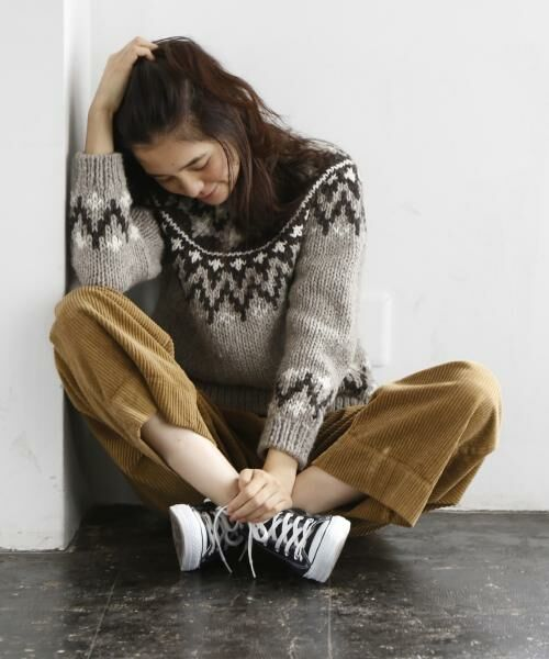 coen / コーエン ニット・セーター   ハンドニットプルオーバー(オフホワイト→WEB限定カラー)   詳細17
