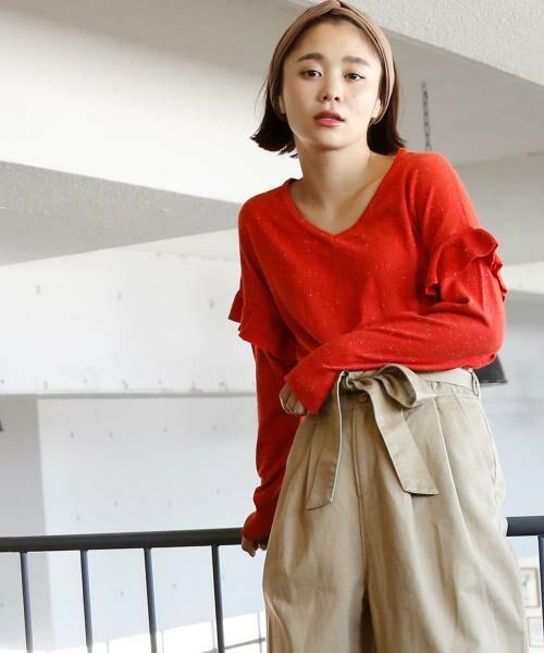 coen / コーエン ニット・セーター | カラーネップ袖フリルニット | 詳細8