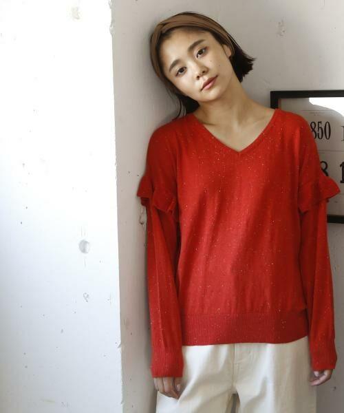 coen / コーエン ニット・セーター | カラーネップ袖フリルニット | 詳細9