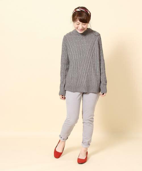 coen / コーエン ニット・セーター   カラーネップケーブル裾フレアニット   詳細4