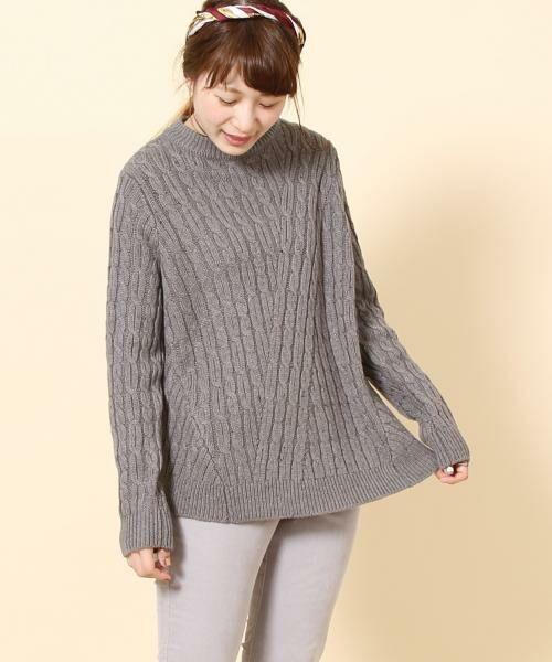 coen / コーエン ニット・セーター | カラーネップケーブル裾フレアニット(グレー)