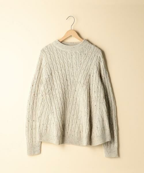 coen / コーエン ニット・セーター | カラーネップケーブル裾フレアニット(BEIGE)