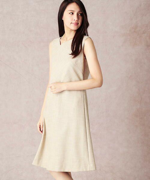 COMME CA / コムサ セットアップ   スラブツィードワンショルダー風ドレス(ベージュ)