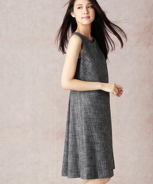 COMME CA / コムサ セットアップ   スラブツィードワンショルダー風ドレス   詳細2