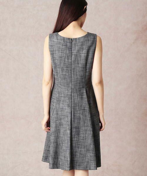 COMME CA / コムサ セットアップ   スラブツィードワンショルダー風ドレス   詳細4