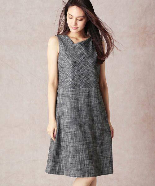 COMME CA / コムサ セットアップ   スラブツィードワンショルダー風ドレス(モノトーン)
