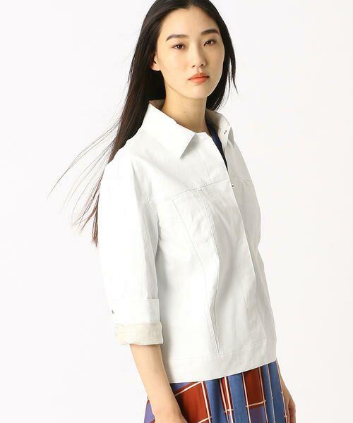 COMME CA / コムサ テーラードジャケット | 2WAY リネンシャツジャケット(ホワイト)