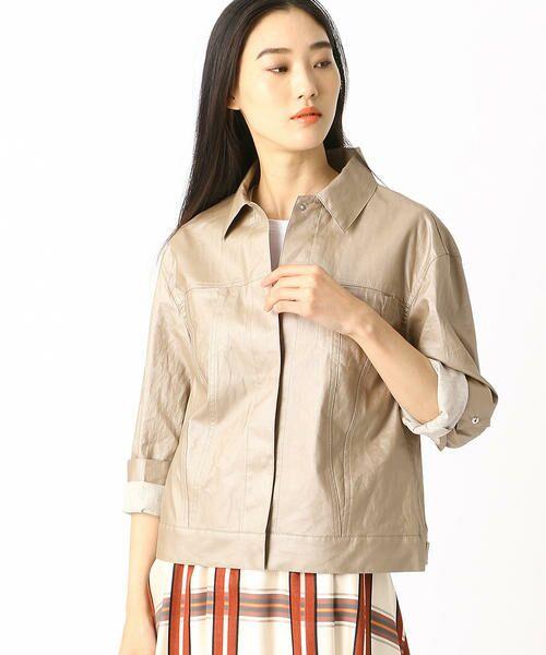 COMME CA / コムサ テーラードジャケット | 2WAY リネンシャツジャケット(シャンパンゴールド)
