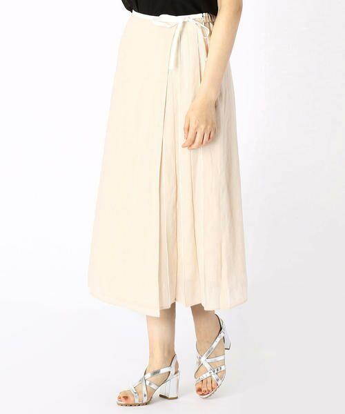 COMME CA / コムサ ミニ・ひざ丈スカート   ラミー デザインスカート(ベージュ×ホワイト)