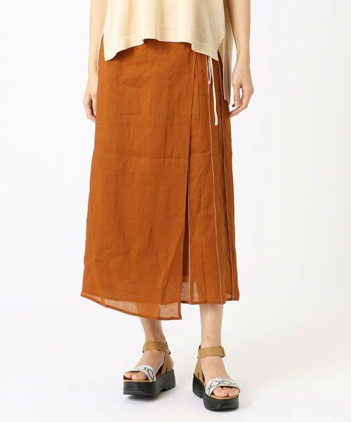 COMME CA / コムサ ミニ・ひざ丈スカート   ラミー デザインスカート(オレンジ×ベージュ)