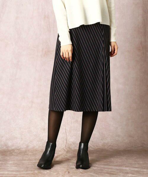 COMME CA / コムサ ロング・マキシ丈スカート   2WAY ストレッチ スカート(ネイビーストライプ)