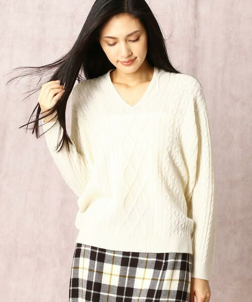 COMME CA / コムサ ニット・セーター | ホールガーメントアラン柄セーター(シロ)