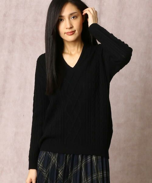 COMME CA / コムサ ニット・セーター | ホールガーメントアラン柄セーター(ブラック)