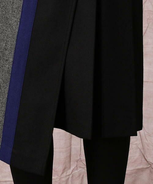 COMME CA / コムサ ロング・マキシ丈スカート   カシミヤ混 ストレッチフラノ カラーブロッキング アシンメトリースカート   詳細7
