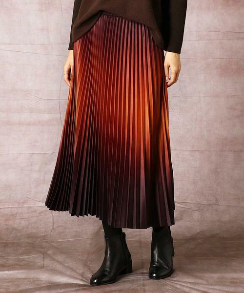 COMME CA / コムサ ロング・マキシ丈スカート | グラデーションプリントアコーディオンプリーツスカート(ブリックオレンジ×ブラウン)