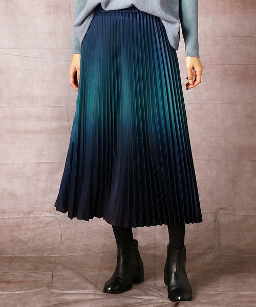 COMME CA / コムサ ロング・マキシ丈スカート | グラデーションプリントアコーディオンプリーツスカート(ブルーグリーン×ネイビー)
