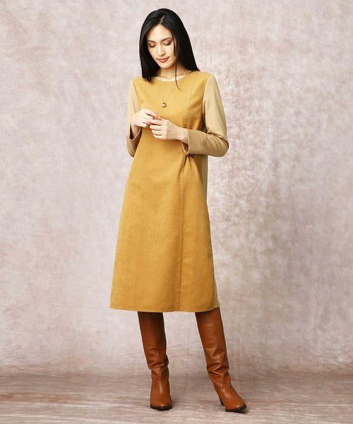 COMME CA / コムサ ドレス | ヘビースエード Iライン ワンピース | 詳細1