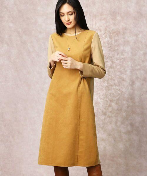 COMME CA / コムサ ドレス | ヘビースエード Iライン ワンピース(キャメル)