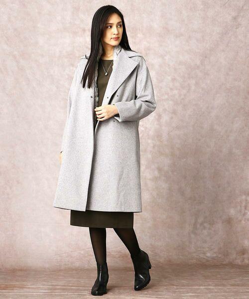 COMME CA / コムサ ドレス | ヘビースエード Iライン ワンピース | 詳細2
