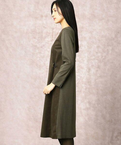 COMME CA / コムサ ドレス | ヘビースエード Iライン ワンピース | 詳細4