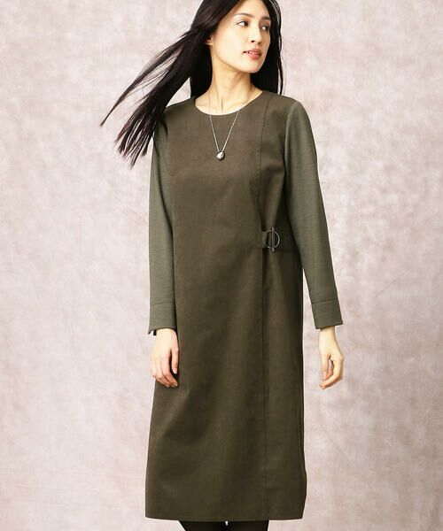 COMME CA / コムサ ドレス | ヘビースエード Iライン ワンピース(カーキ)