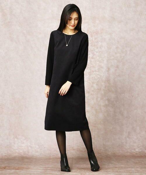COMME CA / コムサ ドレス | ヘビースエード Iライン ワンピース | 詳細11