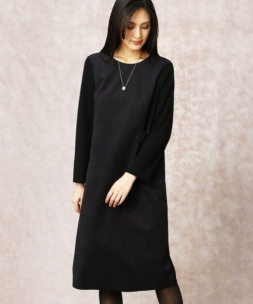 COMME CA / コムサ ドレス | ヘビースエード Iライン ワンピース(クロ)