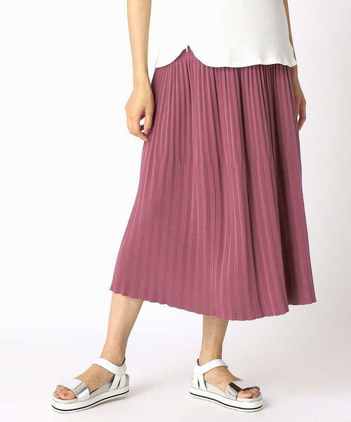 COMME CA BLANC D'OEUF / コムサブロンドオフ ロング・マキシ丈スカート   (マタニティ)アコーディオンプリーツ スカート(モーブピンク)
