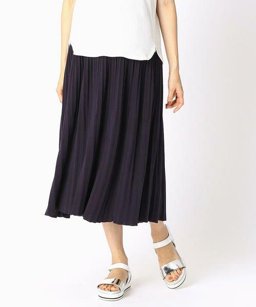 COMME CA BLANC D'OEUF / コムサブロンドオフ ロング・マキシ丈スカート   (マタニティ)アコーディオンプリーツ スカート(ネイビー)