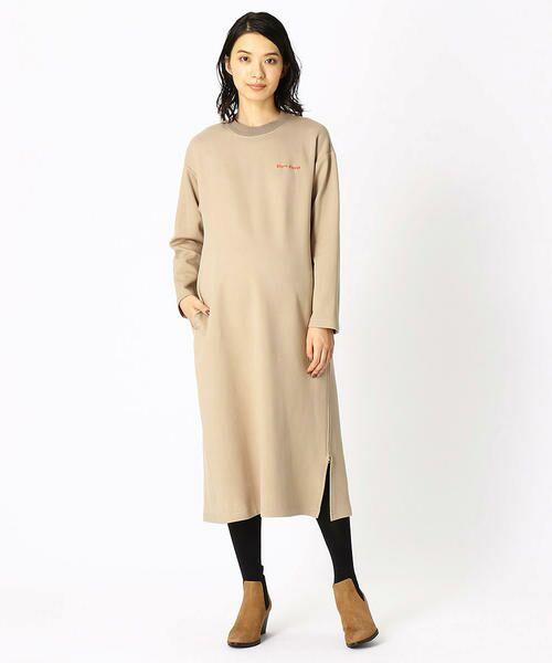 COMME CA BLANC D'OEUF / コムサブロンドオフ マタニティウェア | 〔マタニティ〕あったか素材 ブランドロゴ刺繍 Tシャツ ドレス | 詳細1