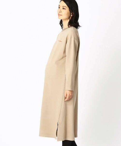 COMME CA BLANC D'OEUF / コムサブロンドオフ マタニティウェア | 〔マタニティ〕あったか素材 ブランドロゴ刺繍 Tシャツ ドレス | 詳細3