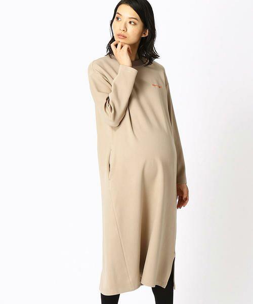 COMME CA BLANC D'OEUF / コムサブロンドオフ マタニティウェア | 〔マタニティ〕あったか素材 ブランドロゴ刺繍 Tシャツ ドレス(ベージュ)