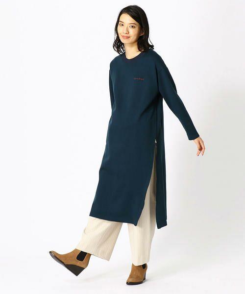 COMME CA BLANC D'OEUF / コムサブロンドオフ マタニティウェア | 〔マタニティ〕あったか素材 ブランドロゴ刺繍 Tシャツ ドレス | 詳細11