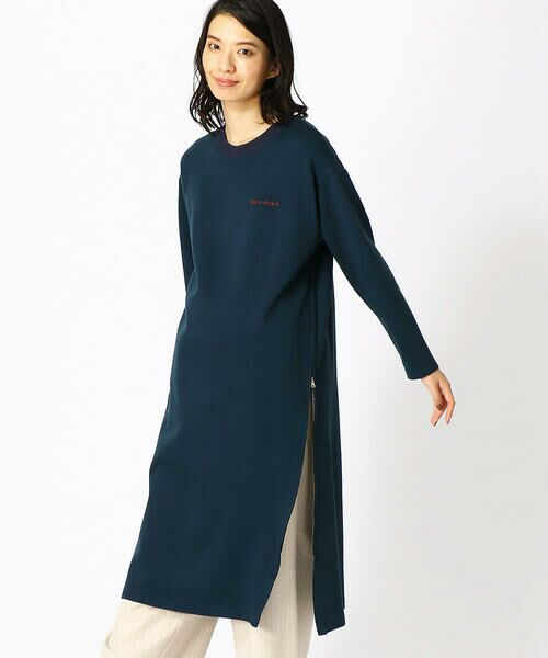 COMME CA BLANC D'OEUF / コムサブロンドオフ マタニティウェア | 〔マタニティ〕あったか素材 ブランドロゴ刺繍 Tシャツ ドレス(ダークブルー)