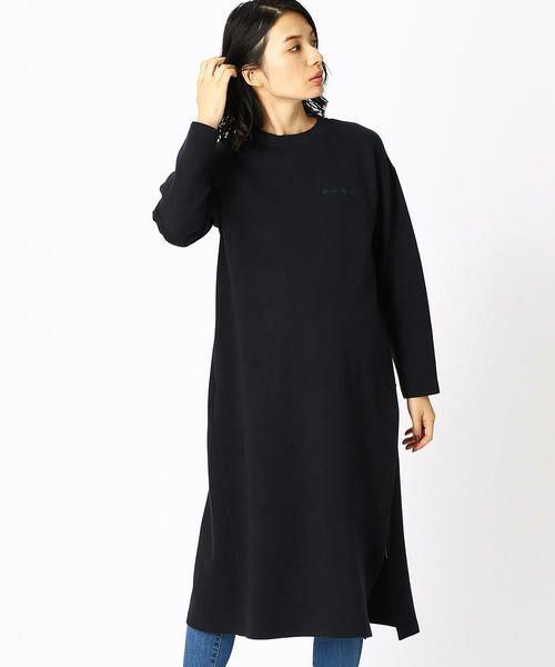 COMME CA BLANC D'OEUF / コムサブロンドオフ マタニティウェア | 〔マタニティ〕あったか素材 ブランドロゴ刺繍 Tシャツ ドレス(ネイビー)