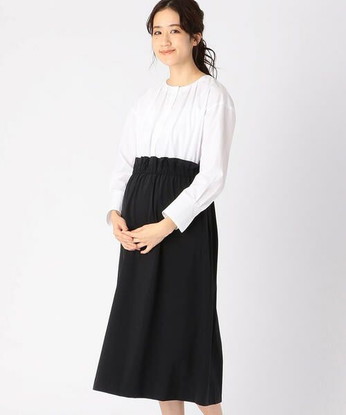 COMME CA BLANC D'OEUF / コムサブロンドオフ マタニティウェア | 〔マタニティ〕ブラウス+スカートドッキングドレス(ホワイト×ブラック)