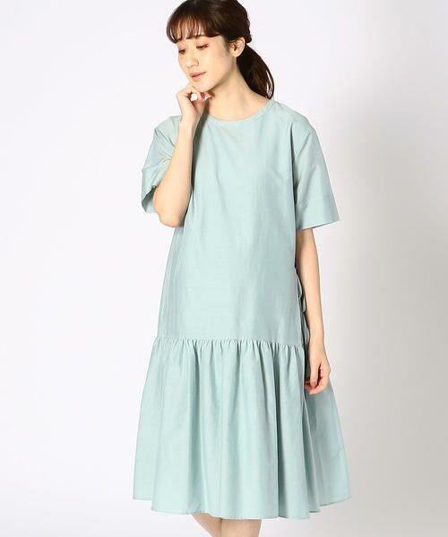 COMME CA BLANC D'OEUF / コムサブロンドオフ マタニティウェア | 〔マタニティ〕ギャザーフレアTシャツドレス(ミント)
