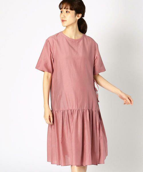 COMME CA BLANC D'OEUF / コムサブロンドオフ マタニティウェア | 〔マタニティ〕ギャザーフレアTシャツドレス(ピンク)
