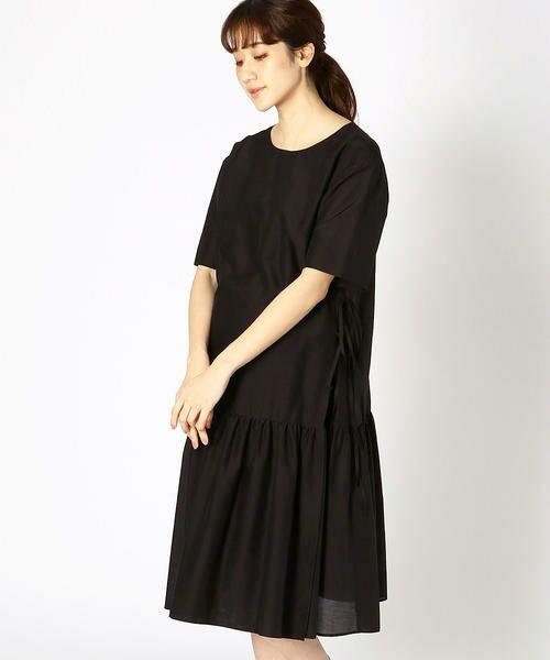 COMME CA BLANC D'OEUF / コムサブロンドオフ マタニティウェア | 〔マタニティ〕ギャザーフレアTシャツドレス(ブラック)