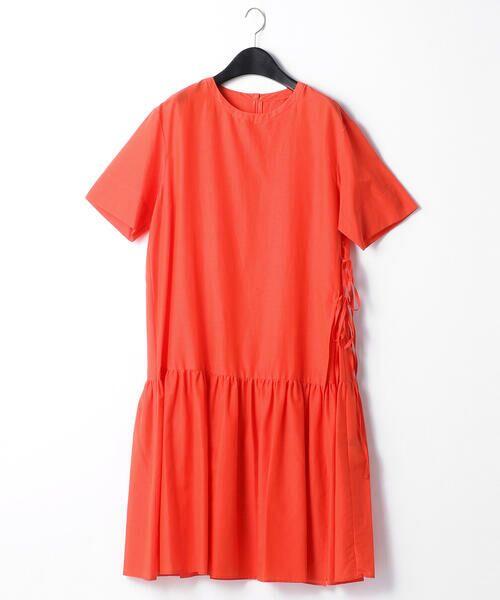 COMME CA BLANC D'OEUF / コムサブロンドオフ マタニティウェア | 〔マタニティ〕ギャザーフレアTシャツドレス(レッド)