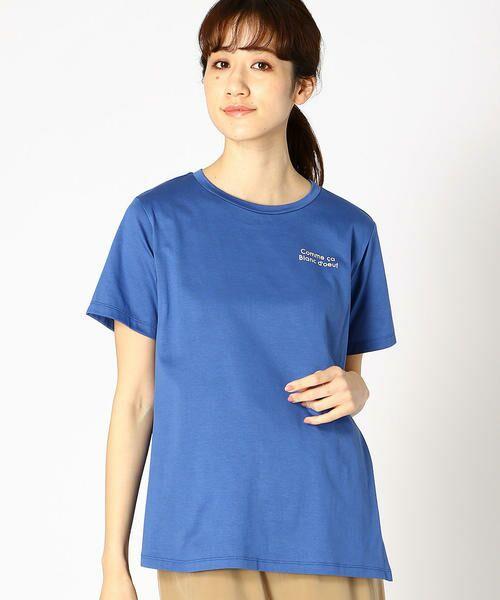 COMME CA BLANC D'OEUF / コムサブロンドオフ マタニティウェア | 〔マタニティ〕ロゴプリント入りTシャツ(ブルー)