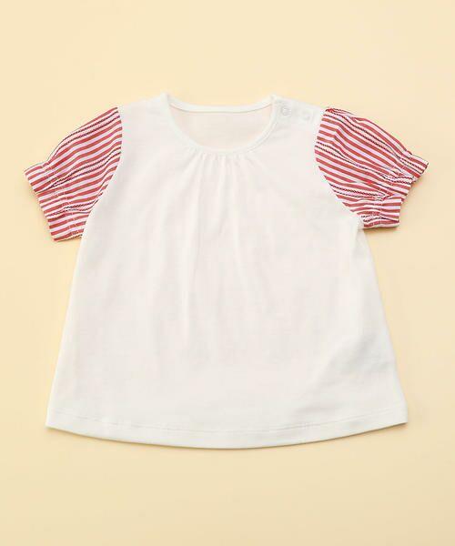 COMME CA FILLE / コムサ・フィユ ベビー・キッズウエア | レーシーストライプTシャツ(ホワイト×レッド)