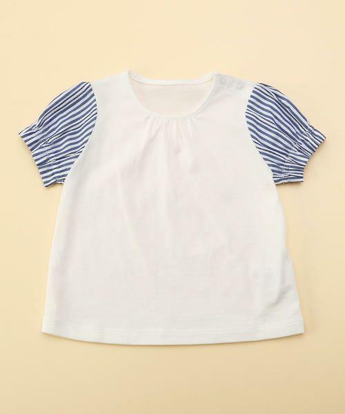 COMME CA FILLE / コムサ・フィユ ベビー・キッズウエア | レーシーストライプTシャツ(ホワイト×ネイビー)