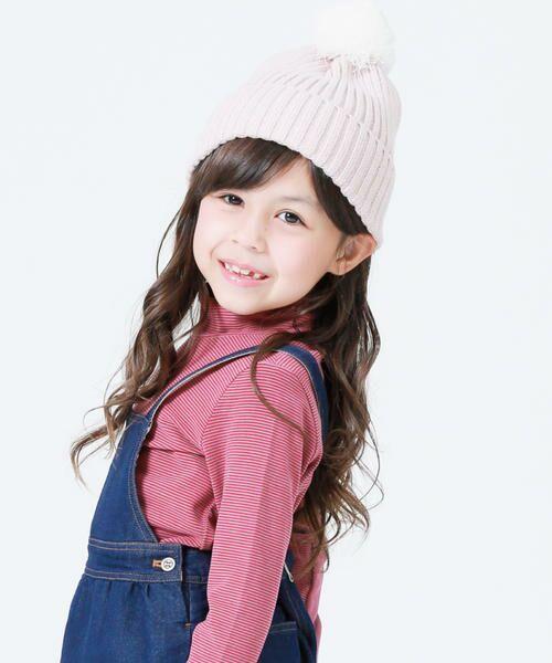 COMME CA FILLE / コムサ・フィユ ニットキャップ | ポンポン付きニット帽(ピンク)