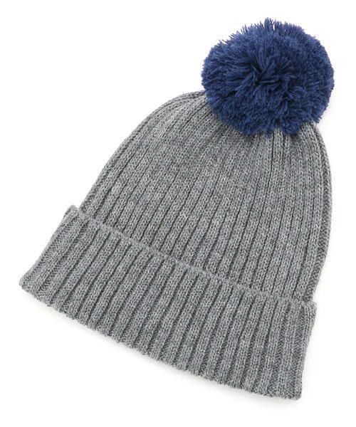 COMME CA FILLE / コムサ・フィユ ニットキャップ | ポンポン付きニット帽(グレー)
